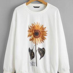 SHEIN Drop Shoulder Sunflower & Slogan Graphic Pullover | SHEIN