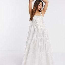 ASOS DESIGN tiered maxi dress in metallic stripe in white | ASOS | ASOS (Global)