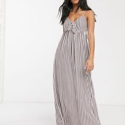 ASOS DESIGN cami bow front maxi sundress in plum and white stripe | ASOS (Global)