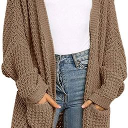 ZESICA Women's Long Batwing Sleeve Open Front Chunky Knit Cardigan Sweater with Pockets   Amazon (US)