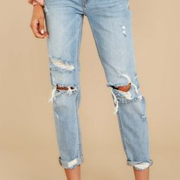 Set The Trend Light Wash Distressed Girlfriend Jeans   Red Dress