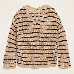 Slouchy Crochet V-Neck Sweater for Women | Old Navy (US)