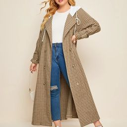 Plus Plaid Double-breasted Drawstring Hooded Longline Coat   SHEIN