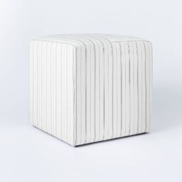 Lynwood Square Upholstered Wide Cube Stripe White - Threshold™ designed with Studio McGee | Target