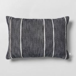 """14"""" x 20"""" Stripe Pattern Throw Pillow Railroad Gray - Hearth & Hand™ with Magnolia 