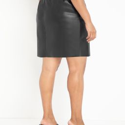 Faux Leather Mini Skirt with Belt | Eloquii
