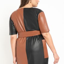 Colorblocked Faux Leather Wrap Dress | Eloquii