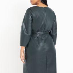 Lantern Sleeve Faux Leather Dress | Eloquii