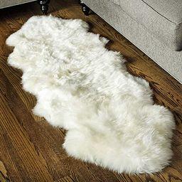 Super Area Rugs, Genuine Australian Sheepskin Rug Two Pelt Ivory Natural Fur, 2x6 Double | Amazon (US)