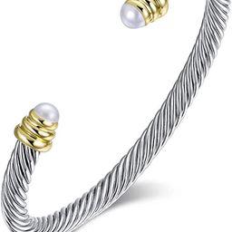 Designer Inspired Vintage Cable Bracelet Composite Shell Pearl Cuff Bracelet   Amazon (US)