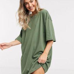 ASOS DESIGN oversized t-shirt dress in khaki | ASOS (Global)