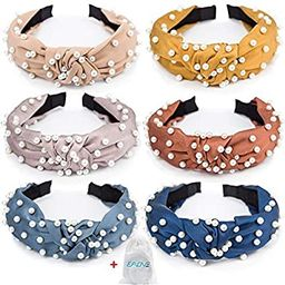 EAONE Pearl Headbands Knotted Headbands for Women 6 Colors, Knot Turban Headband Fashion Hair Ban...   Amazon (US)
