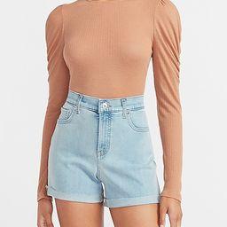 High Waisted Convertible Hem Jean Shorts | Express