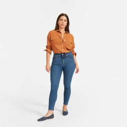 Women's Curvy Authentic Stretch High-Rise Skinny Jean by Everlane in Mid Blue, Size 29 | Everlane