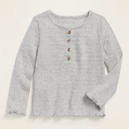 Rib-Knit Lettuce-Edged Long-Sleeve Henley for Toddler Girls | Old Navy (US)