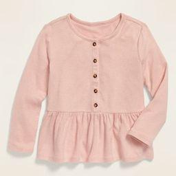 Long-Sleeve Peplum-Hem Plush-Knit Top for Toddler Girls | Old Navy (US)