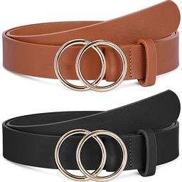 2 Pack Women Leather Belts Faux Leather Jeans Belt with Double O-Ring Buckle Size up to 53 inch | Amazon (US)