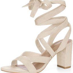 Allegra K Women's Crisscross Chunky Heel Lace Ups Sandals | Amazon (US)