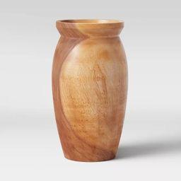 Round Tapered Munggur Wood Vase Natural - Threshold™   Target