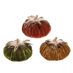 Gallerie II Feather Velvet Pumpkin Small A/3 Halloween Fall Harvest Soft Figure Décor Decoration | Target