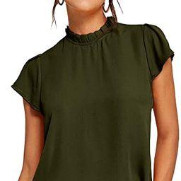 Romwe Women's Short Sleeve Mock Neck Elegant Summer Chiffon Blouse Top   Amazon (US)