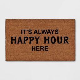 """1'6""""x2'6"""" It's Always Happy Hour Here Doormat Black - Threshold™   Target"""