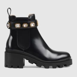Leather ankle boot with belt   Gucci (US)