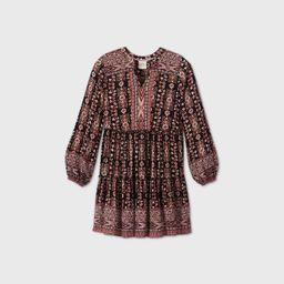 Women's Floral Print Long Sleeve Dress - Knox Rose™ Black | Target