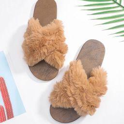 Faux Fur Decor Cross Strap Slides | SHEIN