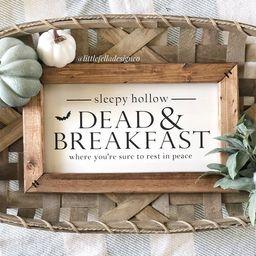 Dead and Breakfast Sign, Halloween Sign, Halloween Decor, Fall Decor, Halloween Farmhouse Sign, F... | Etsy (US)