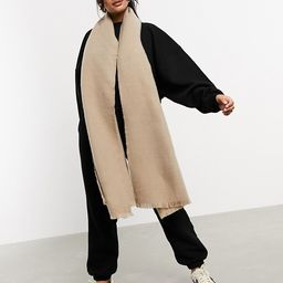 ASOS DESIGN supersoft long woven scarf with raw edge in stone | ASOS (Global)
