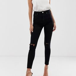 ASOS DESIGN high rise ridley 'skinny' jeans in clean black with ripped knees   ASOS (Global)