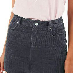just quella Women Slim fit Corduroy A-line Short Skirt High Waist Boydon Mini Skirt | Amazon (US)