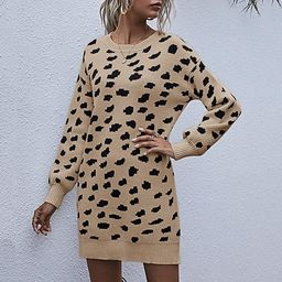 YIBOCK Women's Loose Knit Crew Neck Leopard Print Long Sleeve Winter Pullover Long Sweater Dress | Amazon (US)