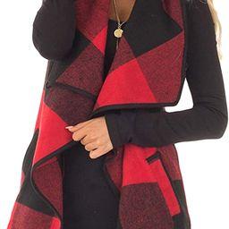 Yacun Women Vest Lapel Open Front Buffalo Plaid Sleeveless Cardigan Jacket Coat with Pockets   Amazon (US)