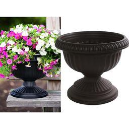 Bloem 12 x 10.5 Black Grecian Plastic Urn Planter | The Home Depot