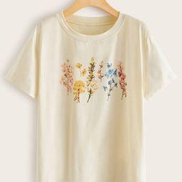 Floral Short Sleeve Tee         SKU: rwtee00191128386                   2685 Reviews             ... | ROMWE