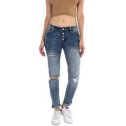 Kancan USA Women's Dark Wash Five Pocket Button Fly mid Rise Denim Jeans | Walmart (US)