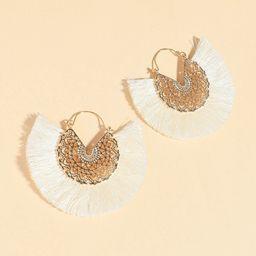 Hollow Out Tassel Fan Decor Earrings | SHEIN