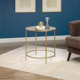 Sauder 417829 Int Lux Side Table Round, Glass / Satin Gold Finish | Walmart (US)