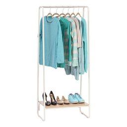IRIS USA Metal Garment Rack with Wood Shelf, White/Light Brown | Walmart (US)