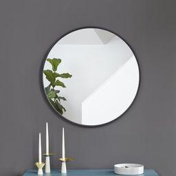 Hub Modern and Contemporary Bathroom / Vanity Mirror Size: 37'' x 37'', Finish: Black | Wayfair North America