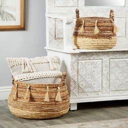 Studio 350 Round Natural Brown & Beige Banana Leaf Baskets w/ Beads & Tassels, Set of 2 | Overstock