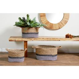 Studio 350 Gray & White Checkered w/ Natural Mendong Grass Oval Storage Baskets (Set of 3) | Overstock