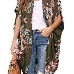 EZBELLE Womens Floral Print Kimono Cardigan Casual Sheer Chiffon Beach Cover Up Blouse   Amazon (US)