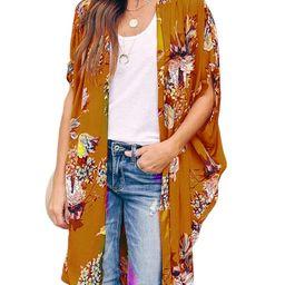 Ivay Womens Floral Kimono Duster Cardigans Short Sleeve Draped Oversized Beach Cover Up Cape   Amazon (US)