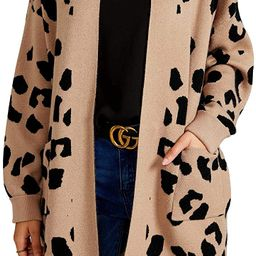 Ashuai Womens Leopard Long Cardigan Sweaters Oversized Open Front Chunky Knit Button Down Loose C... | Amazon (US)