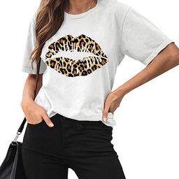 Maisolly Women's Summer Short Sleeve Leopard Lip Graphic T Shirt   Amazon (US)