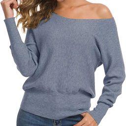Feiersi Women's Off Shoulder Sweater Long Sleeve Loose Pullover Knit Jumper | Amazon (US)
