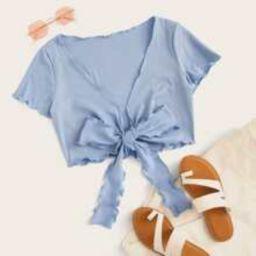Blue Tie Front Crop Top | SHEIN